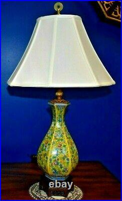 Chinese Porcelain Imperial Yellow Hex Vase Lamp-asian Oriental Cloisonne Style