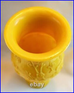 Chinese Republic Era Imperial Yellow Peking Glass Vase Carved with Birds c. 1920