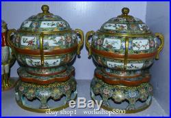 Chinese Royal Palace Old Gold Enamel Color Porcelain Flower incense burner Pair