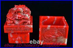 Chinese Shou shan Stone Dragon Loong Beast imperial Seal Stamp Signet Statue Box