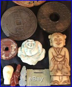 Chinese White Jade Medallion Jadeite Seal Agate Coins Lot Imperial Carved Statue
