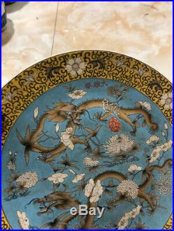 Chinese dynasty Wucai porcelain glaze double Dragon Royal Dish Plate Tray