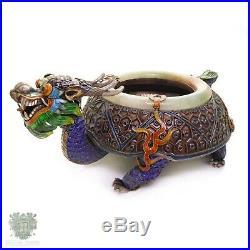 Chinese export silver antique enamel imperial dragon jade bangle ashtray jadeite