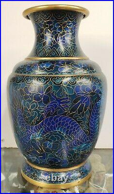 Circa 1900 Chinese Jing Tai Style Cobalt Cloisonne/Brass Imperial Dragons Vase