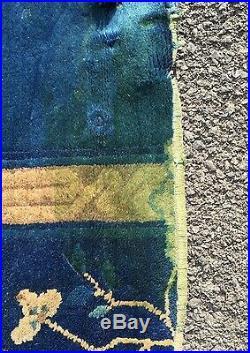 Circa 1920 Chinese Peking/Art Deco Royal Blue Ground Scatter Rug. Wool
