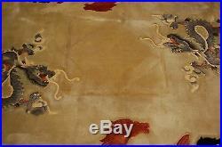 Circa 1970s MINT ART DECO SUPER IMPERIAL CHINESE DRAGON HORSE DESIGN RUG 8.7x8.7