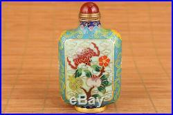 Cloisonne royal collectable bat peach unique snuff bottle