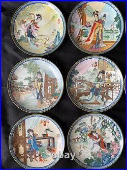 Complete Set 12 Imperial Jingdezhen Porcelain Plates Beauties of the Red Mansion