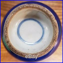 Early 19th Cent. Chinese Kangxi Style Porcelain Imperial Blue Footed Bottle Vase