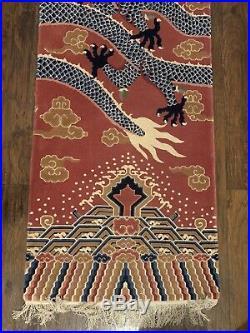 Elegant Old ka-Den Chinese Tibetan Monastery Imperial Dragon Pillar Rug Carpet