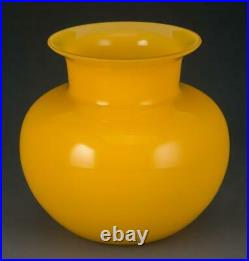 Exceptional Rare Antique Chinese Qing Dynasty Imperial Yellow Peking Glass Vase