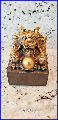 Exquisite Bronze Dragon Desk Seal imperial Seal Stamp Statue