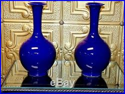 Exquisite Pair Of 12 Chinese Porcelain Vases Royal Blue Monochrome