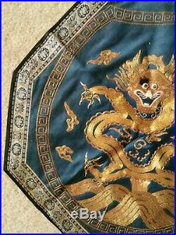 FINE ANTIQUE CHINESE IMPERIAL Dragon SILK EMBROIDERY GOLD THREADS 17 Octagon