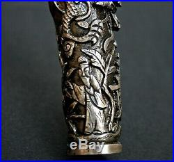 Fine Antique Chinese Silver Walking Stick Cane Handle Imperial Dragon Long Life