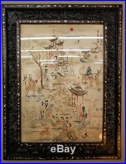 Fine Qing Dynasty Antique Chinese Embroidery Hongmu MOP Frame Imperial Garden