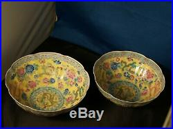 Fine pair of imperial yellow EGGSHELL pottery bowls Chairman Mao era