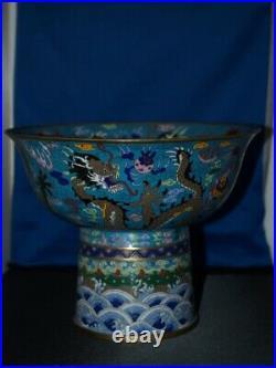 Finest Antique Cloissone Imperial Dragon Bowl 19th Century 9