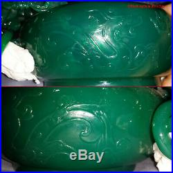 GIA CERTIFIED Chinese Imperial Green Jade Color Agate Dragons Marriage Bowl