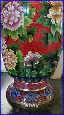 Gorgeous Antique Chinese Large Cloisonne Enameled Vase Imperial Phoenix Peonies