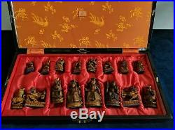 HAND CARVED IMPERIAL STYLE CHESS SET 1920-s CHINA WITH BOARD