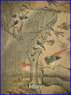Hua Yan Chinese Imperial Qing Scroll Painting Of 100 Birds With Peacocks 8 ft Long