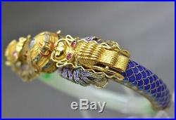 IMPERIAL Chinese Dragon Gold and High Quality Jade Ruby Eyes Bangle Bracelet