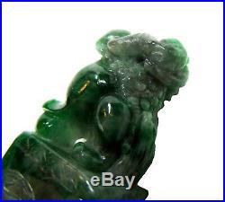 IMPERIAL Green JADEITE Seal FOO Dog