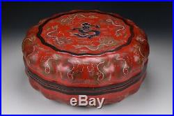 Imperial Carved Chinese Lacquer Covered Box with Dragon 18th / 19th Century