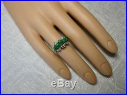 Imperial Natural Type A Jade 30 Diamond Ring 18K White Gold Antique Art Deco
