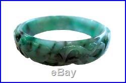 JADEITE Apple IMPERIAL GREEN Carved Bangle BRACELET Translucent