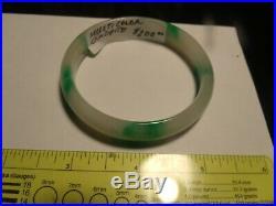 JADEITE BANGLE BRACELET-WHITE WITH IMPERIAL GREEN SPLASHES for smaller wrist