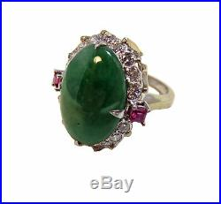 JADEITE Fine DECO RING Imperial DIAMOND Ruby PLATINUM
