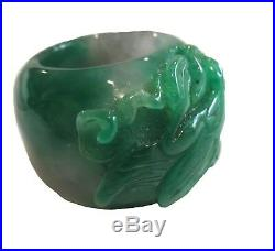 JADEITE Imperial GREEN Thumb RING Translucent