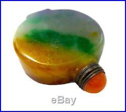 JADEITE Snuff Bottle Lavender & IMPERIAL GREEN Vintage AGATE Silver TOP
