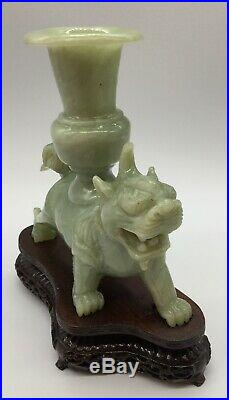 Jade Foo Dog Candle Holder with Stand Chinese Imperial Guardians Lion Candlestick