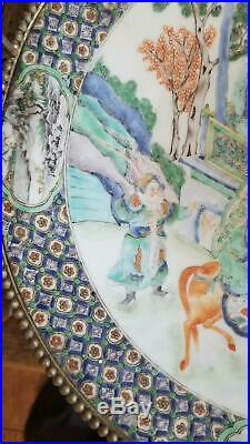 LG Chinese Porcelain Charger Bronze Mounts Qing Antique Verte Imperial Scene