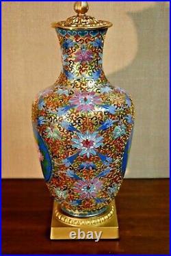 Large 36 Vintage Chinese Imperial Cloisonne Vase Lamp-porcelain-asian-oriental