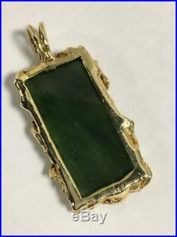 Large Antique 14k Gold natural Chinese DARK GREEN Imperial Jade Pendant 14.6 DWT