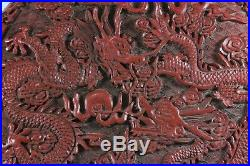 Large Antique Chinese Qianlong Mark Cinnabar Lacquer Imperial Dragons Box