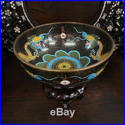 Large Chinese Qing Dynasty 19th Antique Cloisonne Imperial Dragon bowl