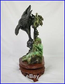 Large Imperial Green Jade Jadeite Sculpture Fitted Wooden Stand Hand Carved