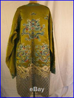 Lime Imperial Dragon robe with turquoise embroidery