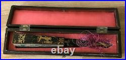 Lovely 19th c. Chinese Fan in Original Box Imperial Court Scenes