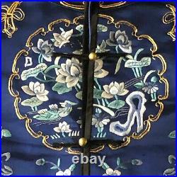 Lovely Imperial Blue Embroidered Chinese Silk Robe
