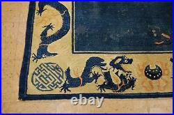MID 1800s ANTIQUE FIVE CLAW CHINESE DRAGON QING DYNASTY IMPERIAL RUG 6x8.6