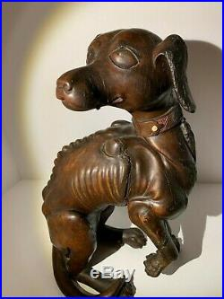 MUSEUM Antique 18th C. Wood Chinese Imperial Hound Inlaid Teeth & Collar Statue