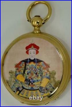 MUSEUM antique Chinese Qing Dynasty 18k gold&enamel watch by Royal Exchange