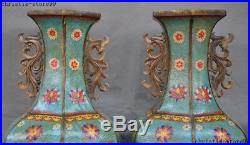 Marked Old China Royal Bronze Cloisonne Zun Cup Bottle Pot Vase Jar Statue Pair