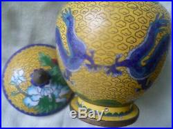 Matched Pair TWO Antique Chinese Cloisonné Lidded Jars with Imperial Dragons